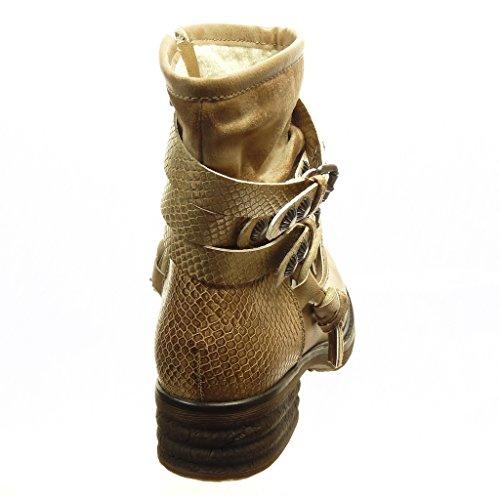 Angkorly - Chaussure Mode Bottine cavalier motard femme peau de serpent lanière clouté Talon bloc 4 CM - Intérieur Fourrée Beige