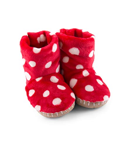Hatley Mädchen Fuzzy Fleece Slouch Slippers Hohe Hausschuhe, Rot (Polka Dots 600), 24-26 Red Slouch Hut