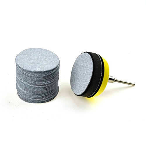 2 inches 240 Grit Aluminum Oxide Coarse White Dry Hook and Loop Sanding Discs with a 1/8 inch Shank Backing Pad + Soft Foam Buffering Pad, 30-Pack Test