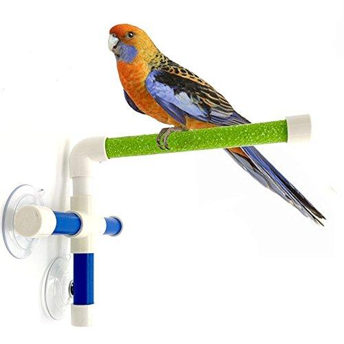 Vogel Dusche Stange, PET Parrot Bad Sitzstangen stehend Plattform Rack Saugnapf Fenster Dusche Vogel Bad Toys, Sandy Fenster und Dusche Sitzstange, groß