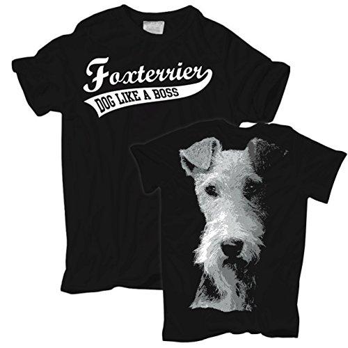 Männer und Herren T-Shirt Foxterrier BOSS (mit Rückendruck) Körperbetont schwarz
