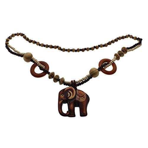 HuntGold Cadena elefante de madera collar largo pendiente de madera redonda Rosario