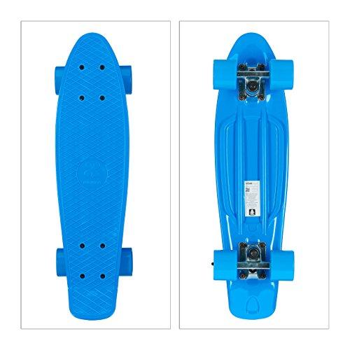Relaxdays Kinder Skateboard einfarbig 22 Zoll Komplettboard, Blau, One Size