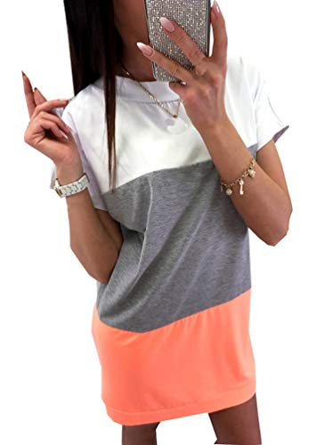 Damen Shirtkleid Kurzarm Longshirt Rundhals Streetwear Lang Jumpers Oberteile Pullover Als Kleid Tshirt Minikleid Longpullover Sweatshirt Kleider Pulli Frauen Top Orange M