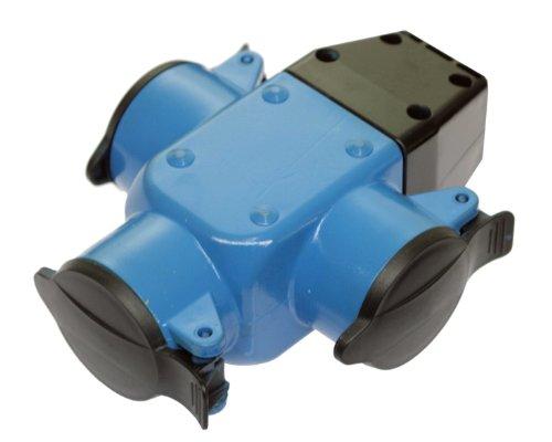 as - Schwabe 60057 3-fach Verteilersteckdose, Gummi, blau, IP44 Gewerbe, Baustelle