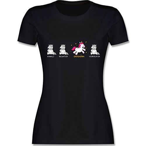 Shirtracer Sonstige Berufe - Erzieherin Einhorn - Damen T-Shirt Rundhals Schwarz