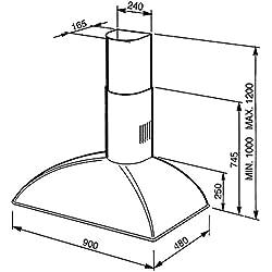 Smeg KS89RAE Monté au mur Cuivre 820m³/h A hotte - Hottes (820 m³/h, Conduit, A, A, C, 70 dB)