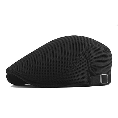 Rolcheleego - Sombrero de Boinas Unisex Adulto Malla Transpirable para Verano Sombrero Plano del Sol Ajustable Gorra Visera Newsboy Hat Flat Cap Simple - Negro