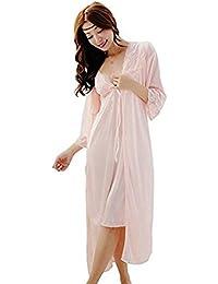 Damen Nachthemd mit Spaghetti-Trägern Langarm Lace Morgenmantel Dessous Negligee Babydoll Nachtwäsche