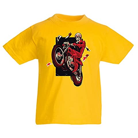 T shirts for kids Motorcyclist - Motorcycle clothing, vintage designs retro clothing (14-15 years Yellow Multi
