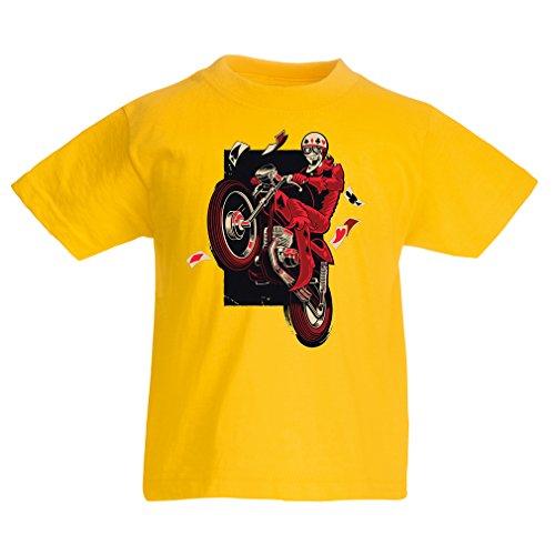 Kinder Kostüm Für Pumba (Kinder T-Shirt Motorradbekleidung - Motorradfahrer T-shirt, Motorradzubehör - Vintage/Retro Design (Biker T-shirt) (5-6 years Gelb)