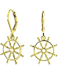 Gold Plated Silver Ships Wheel Leverback Nautical Earrings