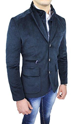 Cappotto giacca uomo Alessandro Gilles sartoriale blu scuro casual elegante invernale con gilet interno (M)