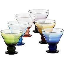 6 x Eiscremeglas, Eisbecher, Eisschale ~ANTICO~ 6-farbig, 12,5 cm, Glas (GELATO VERO powered by CRISTALICA)