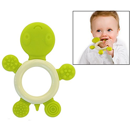 Itian Baby Ring Teether Baby Teething Ring Toy Tortoise Design Cartoon Silicone Infant Teething Toy (Green) 41H8lEmaMxL