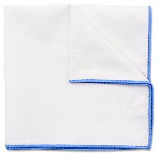 Einstecktuch in reinem Weiß, Baumwolle von Hand genäht, Herren Taschentuch Einstecktücher (Hellblau)
