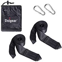 Unigear Portable Camping Hammock, Single/Double Parachute Nylon Fabric for Travel Outdoor Hiking Backyard Garden Beach, with Extra Sleeping Eye Mask Blindfold (Hanging Straps, Pack of 2)