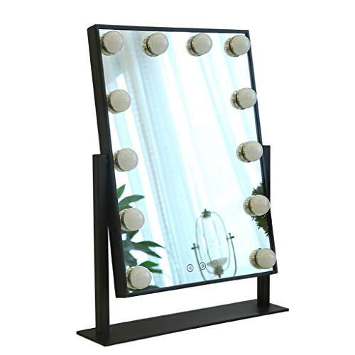 Specchi per il trucco specchio per trucco illuminazione con lampadine led dimmerabili specchio da tavolo | luci a led per specchi da trucco stile hollywood con lampadine 9/12 dimmerabili (nero) arredo