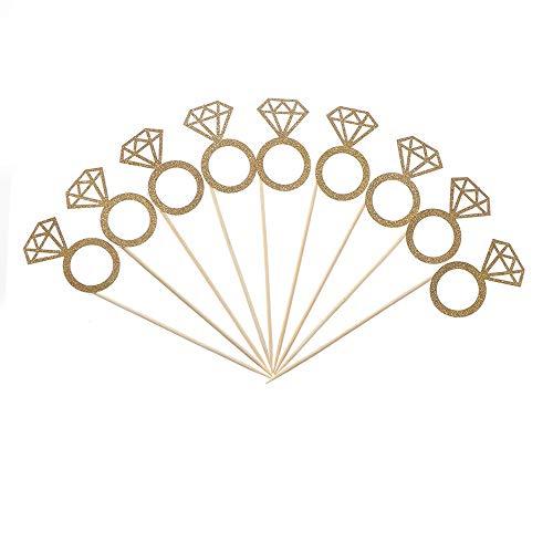 Dragonface Glitter-Kuchen-Deckel-Hochzeit Prom-Kuchen-Werkzeug Clip-Diamant-Ring-Kuchen-Dekoration-Partei-Use (20 Stück)