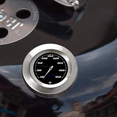 Lantelme 2 Stück Thermometer für Grill/Smoker / Räucherofen/Grillwagen Analog/Bimetall / Edelstahl BBQ Grillzubehör Modell Racing Black Edition
