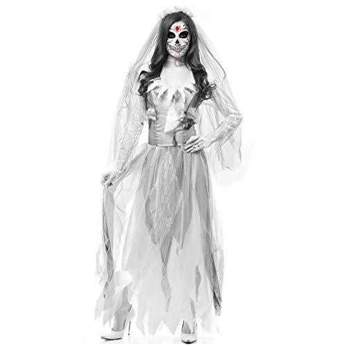 YRE Cosplay Horror Bride Zombie-Kostüm, Halloween-Vampir-Spiel Kostüm, Bar-Bühne Kostüm,L