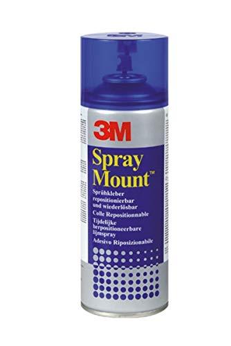 3M 051847 SprayMount Sprühkleber, mit mittelstarker Haftkraft, im feuchten Zustand repositionierbar, 400 ml, Blau (Modell-spray-farbe Blau)