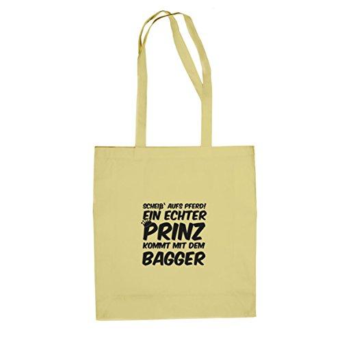 Ein echter Prinz kommt mit dem Bagger - Stofftasche / Beutel Natur