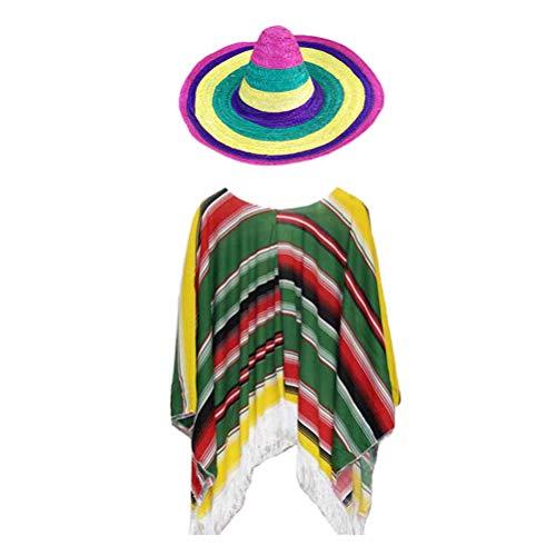 TENDYCOCO 1 Satz Mexikanischer Strohhut-Anzug Mexikanische Kleidung Hawaii-Stil für Kinder Kinder (Hutfarbe zufällig)