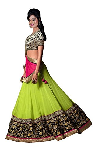 Fabmaza Woman\'s Georgette Semi stitched lehenga Choli For Woman Party Wear Navrati Special Gown (Fab109L_Parrot_Free Size)