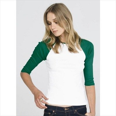 Bella - Retro Baseballshirt 3/4-Arm White/Kelly Green