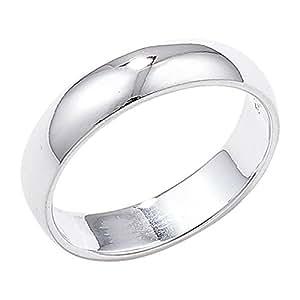 Sterling Silver 4mm Wedding Ring - Size J