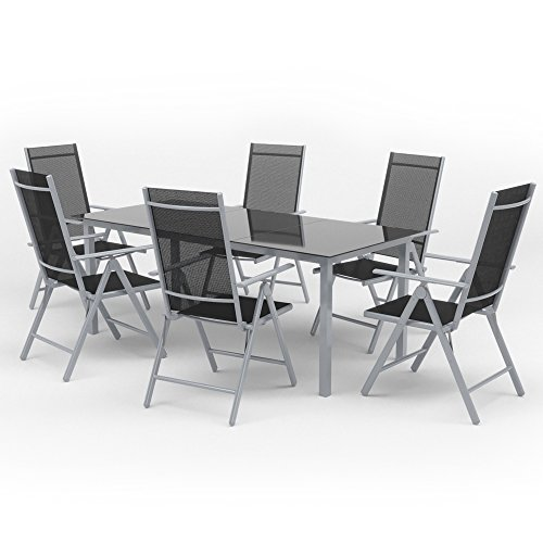 Gartenmöbel (Oskar Alu Sitzgarnitur Gartenmöbel Set 7-Teilig Garnitur Sitzgruppe 1 Tisch 190x87 + 6 Stühle)
