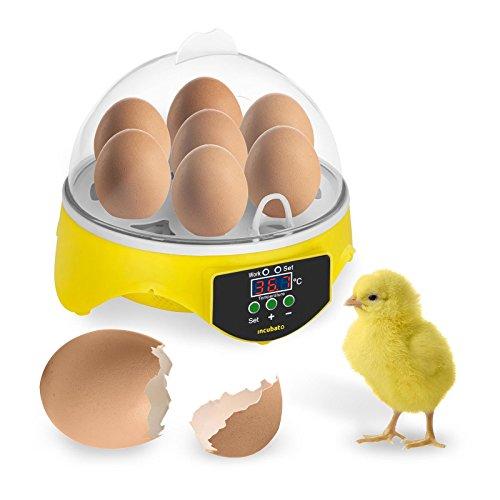 SIYUMAOYI Mini Motorbrüter Inkubator Eier Inkubator Automatische Brutmaschine Motorbrüter Hühner, Brutapparat mit LED Temperaturanzeige und Temperaturfühler, für 7 Hühnereier