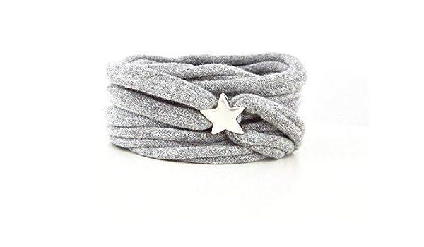 Armband Wickelarmband Stoff grau meliert oder Wunschfarbe 60 Varianten mit versilbertem Stern aus Metall individuelle Geschenke mit Liebe