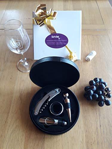 Coffret Simili Cuir Noir avec Accessoires vin aerateur/Bec verseur Anneau Stop Gouttes Bouchon décanteur Tire-Bouchon Cadeau Homme fête noël Anniversaire Mariage www.biowineandco.COM
