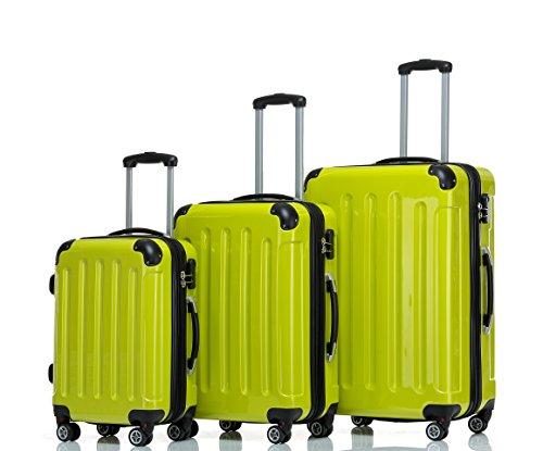 BEIBYE Zwillingsrollen 2048 Hartschale Trolley Koffer Reisekoffer in M-L-XL-Set in 14 Farben (Set, GRÜN)