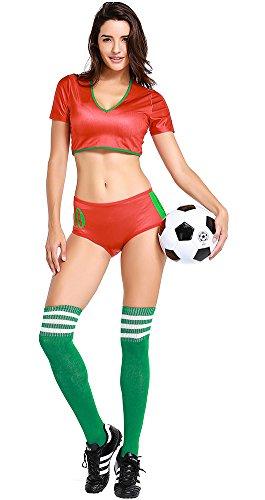 Joyplay Fußball Cheerleader Kostüm damen Mode Kreative Welt Cup Nationalflagge Farbe Cheerleader Kostüm Fußball Baby Sexy Leistung Uniform mit Strümpfe - Portugal
