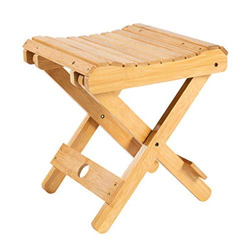 Klapphocker, tragbares Bambus Massivholz mit Fußbank Fischerei Stuhl, geeignet für Familie im Freien 29x26x31.5cm - Bambus-eiche-stuhl