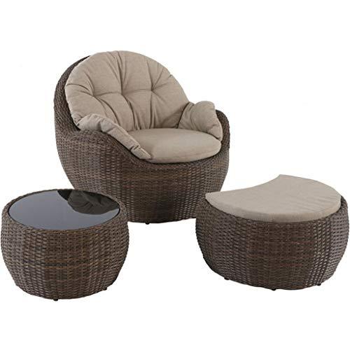 Llcc poltrona in rattan, divano letto rotondo, cuscino imbottito, comodi braccioli, piedini antiscivolo