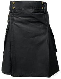 Tartanista - Kilt escocés de trabajo para hombre - Algodón alta resistencia - Negro - UK38 (96 cm)