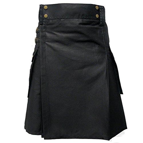 Tartanista - Herren Taktischer Cargo-Kilt mit Taschen - ideal für Einsätze - Einfarbig Schwarz - 126 cm Taillenweite; 58,5 cm Länge