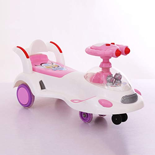 Twist car Swing car Children's 1-3-6 Years Old Men And Women Baby Universal Wheel Yo Car With Music Swing Car Baby Scooter FANJIANI (color : Pink, Size : Silent wheel)  FANJIANI