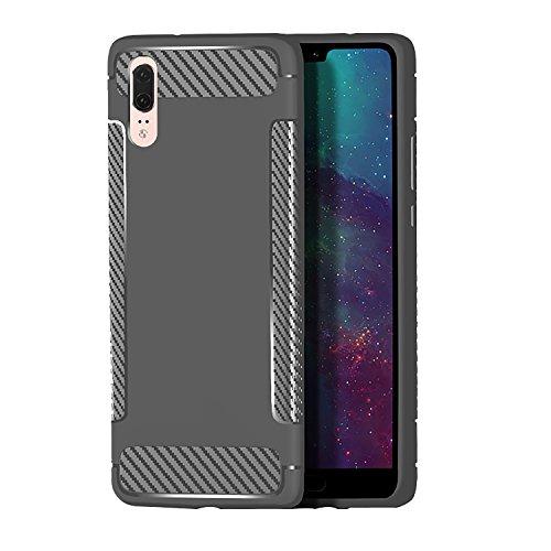 Flymaff Kompatibel für Huawei P20 Hülle + Glas Displayschutzfolie, Premium Flexible [Stoßdämpfung] Faser TPU Bumper Kissen Schutzhülle für Huawei P20