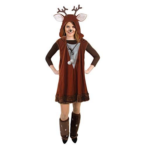 Wald Erwachsene Kostüm Märchen Damen Für - Orlob Handelsgesellschaft Rehlein Kostüm Kleid REH braun Fasching Tierkostüm Wald Märchen (40/42)