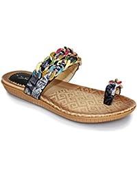 SAPPHIE BOUTIQUE Damen Bequem Zehenschlaufe Mehrfarben Kette Schleife Riemchensandale Schuhe