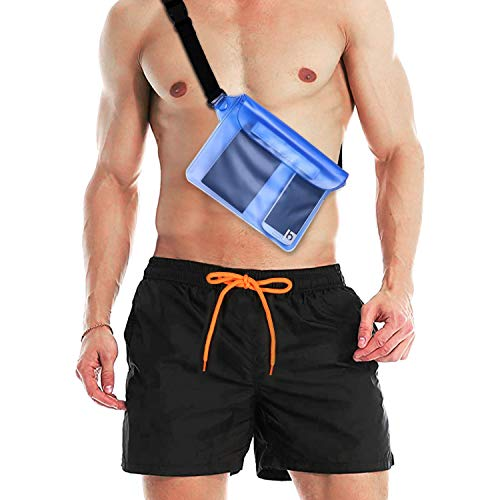 Rovtop Badehose für Herren Schwarz wasserdichte Badeshorts elastisch Schnelltrocknend mit 5 Taschen und wasserdichter Handytasche DREI Größe M/XL/XXL (M)