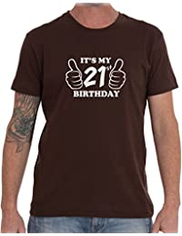 ITS MY 21st BIRTHDAY BROWN T SHIRT - VARIOUS SIZES AVAILABLE (Large)
