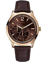 Guess W95086G1 - Reloj analógico de cuarzo para hombre con correa de piel, color marrón
