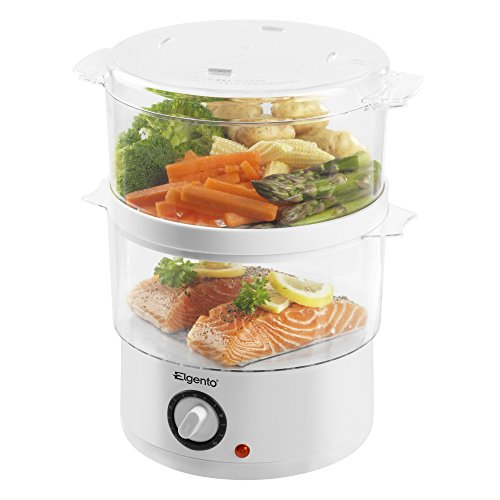 41H8wxwGmoL. SS500  - Elgento E21002 2 Tier Steam Cooker, 400 W, 4.8 Litre, White