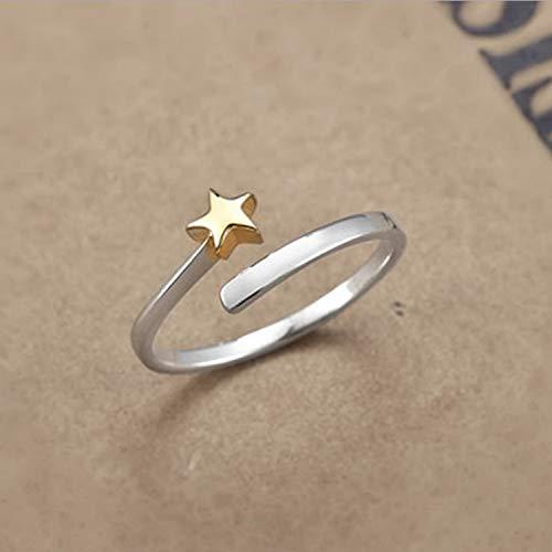 QIFUDEVS Rings Home Koreanische Version des kleinen frischen und schönen fünfzackigen Sterns literarischer Sterne feiner Abschnitt S925 Sterling Silber Thai-Silber Einstellungsring weibliche Modelle